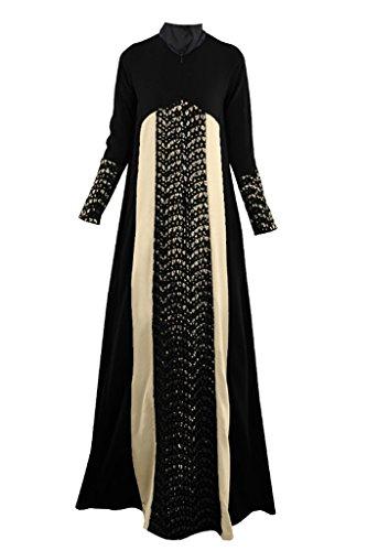 GladThink Donne Arabo Tradizionale Musulmano Vestito Nero M