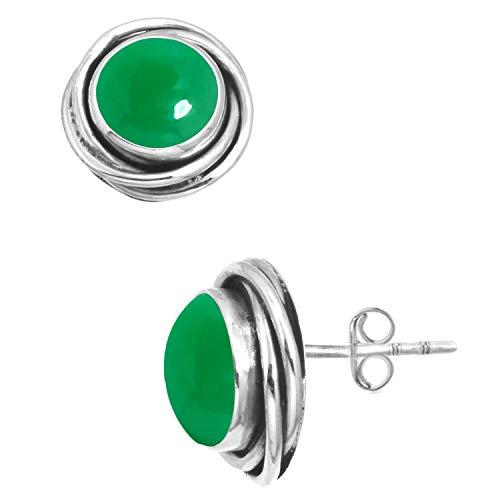 Verde Ónix Mujer Joyería 925 Esterlina Plata Pendiente de la (98544_GNX_E)
