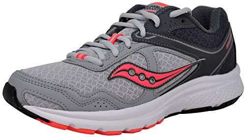 Saucony Women's Cohesion 10 Running Shoe, Grey/Peach, 8 M US