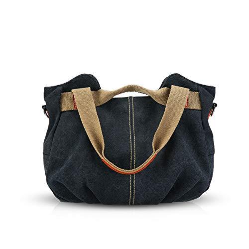 NICOLE & DORIS Canvas Tasche Damen Tragetaschen für Damen Schultertaschen Umhängetasche Leinwand Handtasche Mädchen schwarz