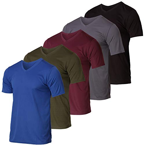 5 Pack: Men's V Neck Mesh Active T-Shirt Essentials Performance Workout Gym Training Quick Dry Fit Dri Breathable Short Sleeve Under Shirt Athletic...