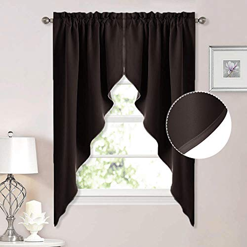 NICETOWN Blackout Pole Pocket Kitchen Tier Curtains, Tailored Scalloped Valance/Swags for Bedroom (2 Pieces, W36 X L63 inches Each Panel, Brown)
