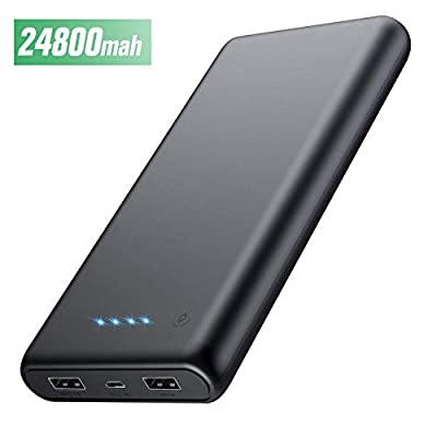 HETP Power Bank, Portable Charger 24800 mah Ultra Compact High Speed External Battery, 4 LED Lights, Dual USB ports Power Bank for Phone and Tablet