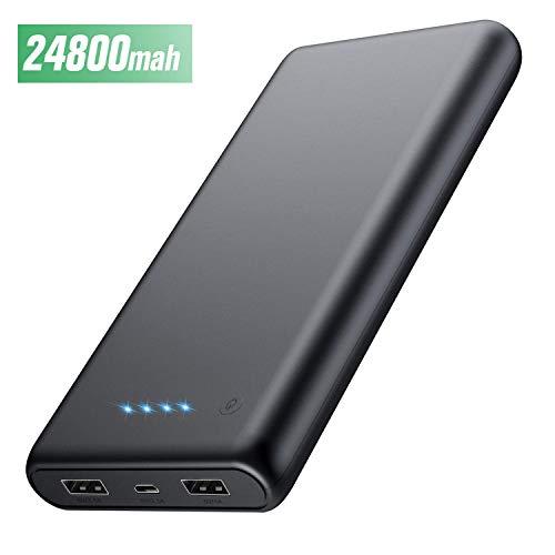 HETP Powerbank 24800 mah Externer Akku Power Pack Ladegerät Ultra Kompakter Dual Output Extrem hohe Kapazitat Tragbares Ladegerät Externer Batterie Pack für Handy, Tablet