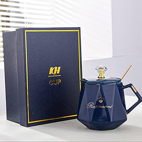 Taza de café de cerámica con asa, tapa, cuchara, diseño de diamante único, utilizado para capuchino, latte, mocha, lavavajillas, hogar y oficina, regalo para mujeres (color: azul)