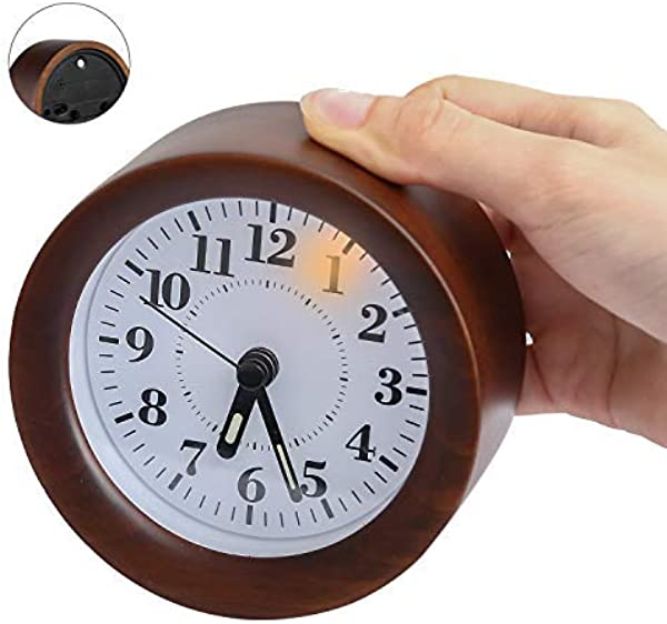 Yacig Wood Alarm Clock Genuine Wooden Frame Non Ticking Bedside Alarm Clock With Nightlight And Snooze Ascending Sound Alarm Thanksgiving Brown