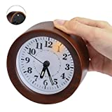 Wood Alarm Clock, Yacig Genuine Wooden Frame Non Ticking Bedside Alarm Clock with Nightlight and Snooze/Ascending Sound Alarm Thanksgiving, Brown