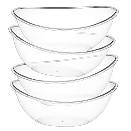 Set of 4 – Oval Plastic Serving Bowls – Party Snack or Salad Disposable Bowl 80Ounce