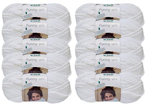 Gründl Wolle/HdK-Versand 10x100 Gramm Funny Uni Wollpaket Softgarn SB Pack Babygarn inkl. Anleitung für EIN Funny Bunny (01 Weiss)