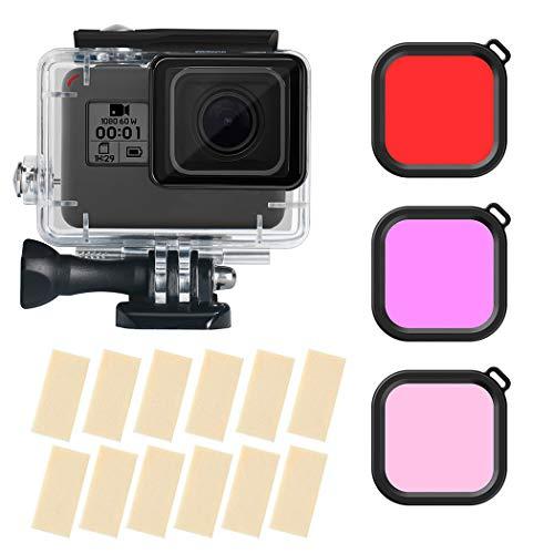 VOFANK Wasserdichtes Zubehör-Kit für Gopro Hero 7 Black/HD (2018) / 6/5 mit wasserdichtem Gehäuse + 3 Rotfilter + 12 Antibeschlag-Einsatz, wasserdichte Gehäuse Rot Filter Zubehör für GoPro Camera