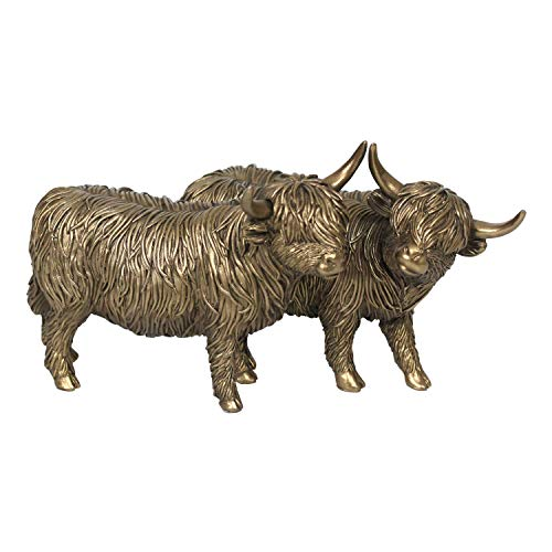 Large 25cm Leonardo Bronzed Highland Cows ornament sculpture figurine gift boxed
