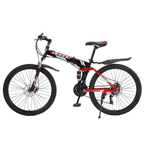 Qijing Adult Mountain Bike, Unisex Folding Outdoor Bicycle, 26 Inch Full Suspension Mountain Bike 21 Speed Folding Bike Non-Slip Bike, High Carbon Steel Frame MTB for Men&Women Outdoor Racing Cycling