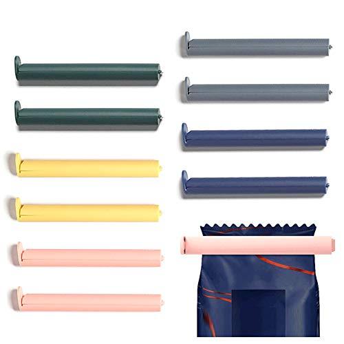 Dzmuero Beutel Clips,Verschluss Clips 10 Stück Verschlussclips für Plastiktüten für Reisen Aufbewahrungsbeutel für Lebensmittelbeutel Dichtungsclip für Plastiktüten für Snacks Milchpulverversiegelung