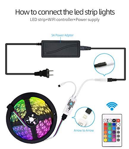 300 luci LED striscia colorata per atmosfera, 12V bassa tensione 10 M5050RGB barra flessibile impermeabile colla a goccia, IP20 non impermeabile_300 luci+24 tasti+senza alimentazione