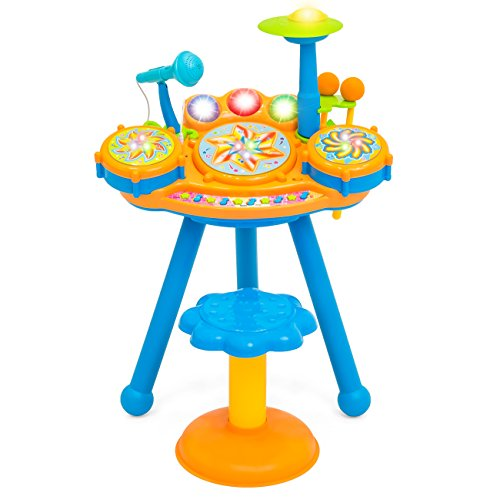 Best Choice Products Kids Electric Play Drum Musical Instrument Toy Set w/ Drumsticks, Microphone, LED Lights, Stool