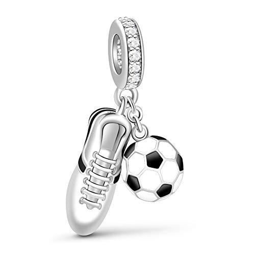 Gnoce925 Sterling Silber Damen Charm Sneaker & Schwarz-Weißer Emaille Fußball Anhänger Fit Armband und Halskette Geschenk Für Kinder Junge Männer Fußballfans