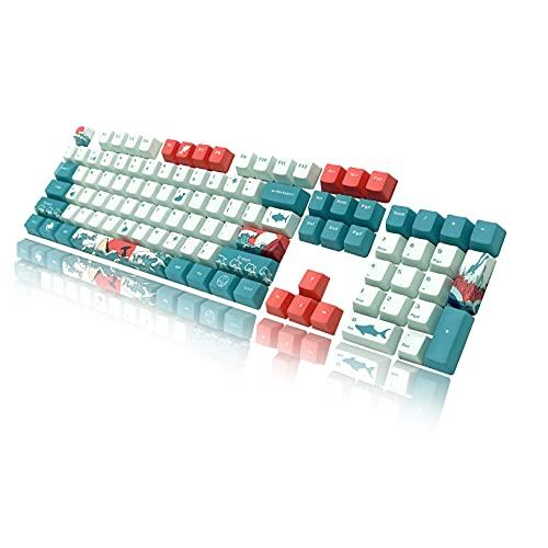 BAOD - Copritavolo meccanico in PBT con strato traslucido, set da 104 tasti con estrattore per chiavi compatibile con tastiera meccanica Cherry MX switch adatto per 60% tastiera