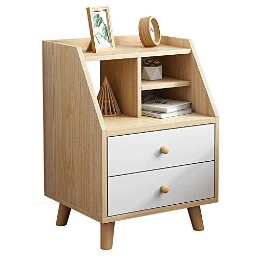 EVFIT Bedside Table Side End Table Nighstand with Double Drawers Cabinet for Storage Bedroom Perfect for Any Bedroom (Color : White, Size : 40x34x63CM)