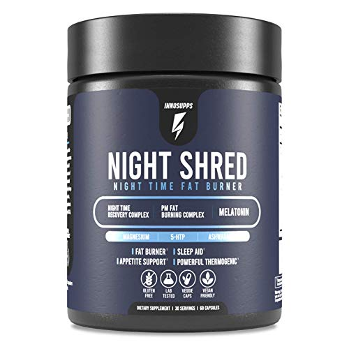 Inno Supps Night Shred - Night Time Fat Burner and Natural Sleep Support - Appetite Suppressant and Weight Loss Support (60 Vegetarian Capsules)