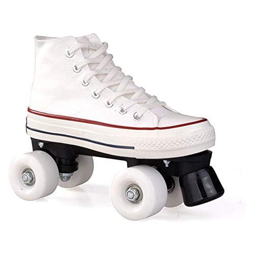 JTYX Patines De Hielo Clásicos Paralelos 4 Ruedas Unisex Adulto Rodamientos Rápidos Liso Patines De Lona Zapatos De Skate