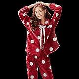 XFLOWR Camisón Loungewear Invierno Mujer Pijamas Thicken Warm Pijamas SetFranela de Manga Larga Servicio a Domicilio Cardigan Pijamas Suit XL BYTN5903