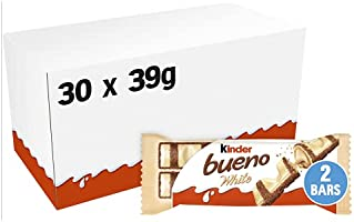 Kinder Bueno White Bars, Box of 30 White Chocolate, Hazelnut & Wafer Bars