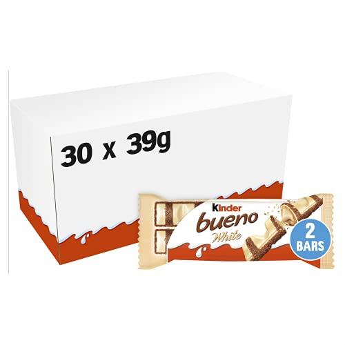 kinder bueno White - Großverbraucherpackung mit 30 Packungen à 2 Einzelriegeln, Waffel-Riegel mit weißer Schokolade, zarter Knusperhülle und cremiger Milch-Haselnuss-Füllung