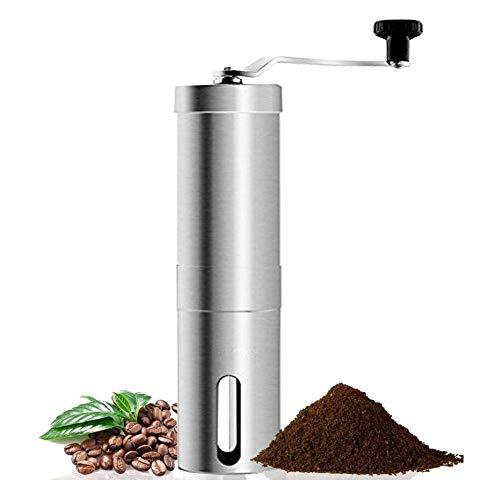 Manual Coffee Grinder Adjustable Coarseness Stainless Steel Mini Hand Portable Bean Mill Aeropress Office, Home, Traveling, Camping Conical Burr Mill (1pcs-Hand Coffee Mill, 39-Silver)