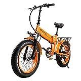 ZWHDS Bicicleta eléctrica - Neumático de Grasa 50 0W 12.8AH Bicicleta de montaña 7speed e-Bike 20'Cross Country Bike (Color : Orange)