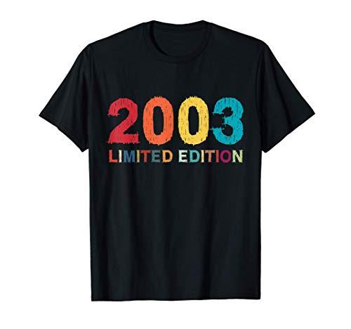 18 Años Cumpleaños Chico Chica Regalo Deco Divertido 2003 Camiseta