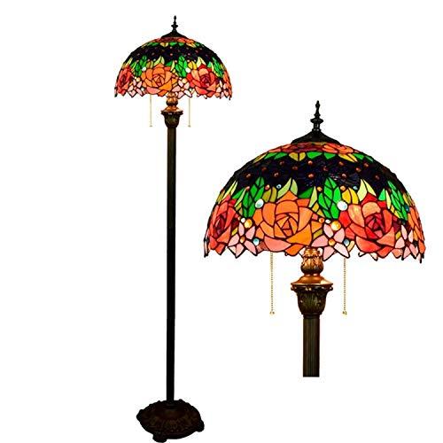 Hobaca 16 Zoll E27 handgemachte bunte Rose Glasmalerei Tiffany Standleuchten für Wohnzimmer Treppen Schlafzimmer Esszimmer Bar Pastoral kreative Mode Persönlichkeit dekorativ