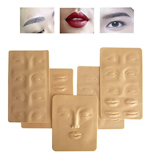 5 x Solette Micropigmentazione in pelle sintetica per praticare tatuaggi, pratica per sopracciglia permanenti.