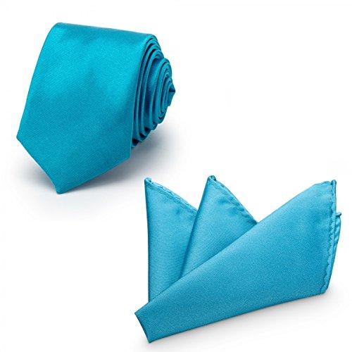 Rusty Bob Rusty Bob - Krawatte mit Einstecktuch (in vielen Farben) - für die Verlobung, die Hochzeit - Schlips mit Taschentuch für das Sakko - 2er-Set - Royalblau