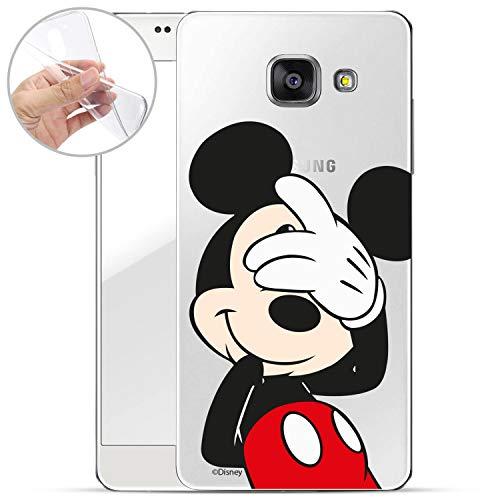 FINOO – Funda Protectora Compatible con Samsung Galaxy A5 2017 – Borla de Silicona TPU – Transparente, Ultrafina y Ligera – Mickey Mouse