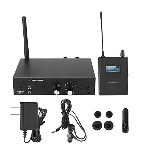 BTIHCEUOT Monitores Profesionales en la Oreja, Kit de Sistema de Monitor inalámbrico 526-535Mhz Transmisor Receptor Monitoreo de la Etapa en la Oreja(Enchufe de la UE)