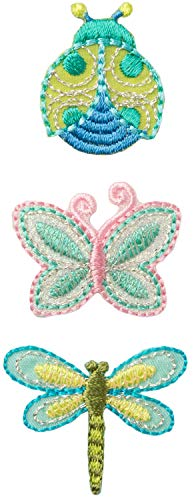 Simplicity Multicolor Bugs Applique Clothing Iron On Patches, 3pc, Sizes Vary, Ladybug Butterfly and Dragonfly