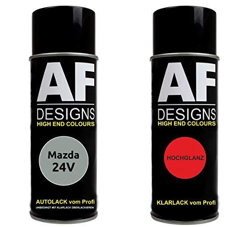 Autolack Spraydose Set für Mazda 24V Cerrion Silver Metallic Basislack Klarlack Sprühdose 400ml