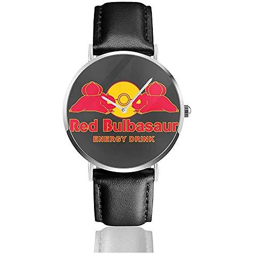 Unisex Monster of The Pocket Red Bulbasaur Energy Drink Relojes Reloj de Cuero de Cuarzo con Correa de Cuero Negro