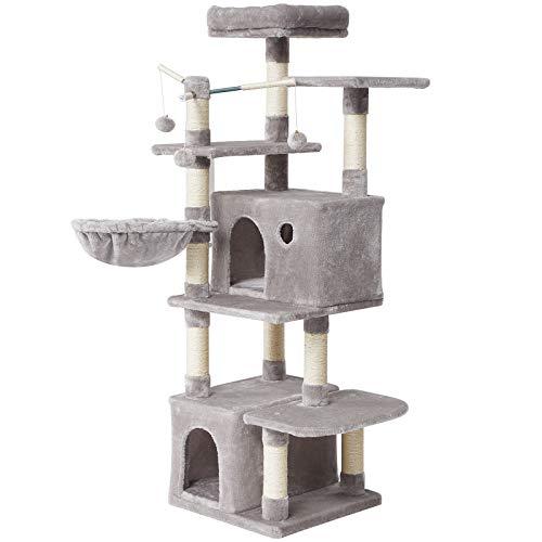 IBUYKE 155 cm Kletterbaum, XXL Kratzbaum mit Sisal-Kratzstangen, Katzenkratzbaum mit 2 Häuschen einem Korb, 3 Plüschball Katzenspielzeug, Hellgrau CT023W