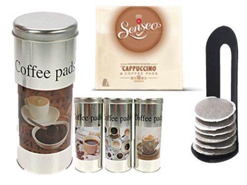 Senseo Kaffeepads Cappuccino AL , Milchschaumklassiker, Kaffee, neues Design, neue Rezeptur + 4 Pad Dosen mit Motiven und 4 Padhebern