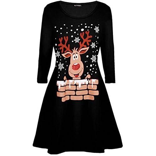 5b857a6f696 Be Jealous Womens Ladies Santa Reindeer Wall Snowflake Costume Christmas  Xmas Swing Dress UK Plus Size