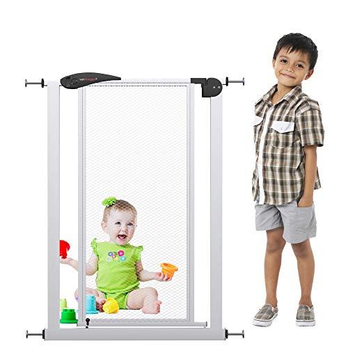 VISTA XS Türschutzgitter | 90cm extra hoch - ohne Bohren | Breite 60-70 cm | Tür-Treppen-Absperr-Schutz-Gitter zum Klemmen Baby Kinder Netz