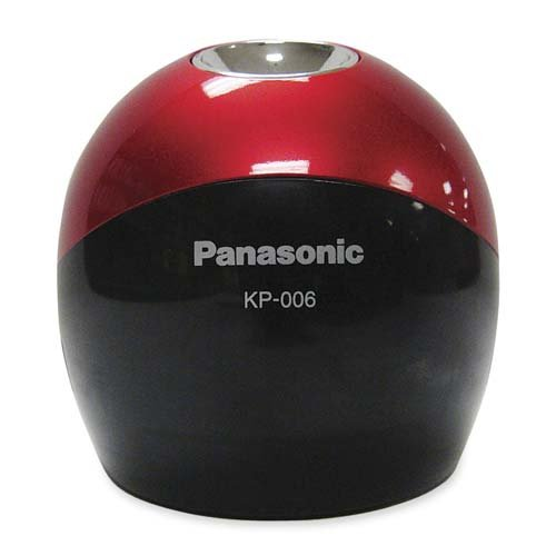 Panasonic Pinpoint Desktop Battery-Operated Pencil Sharpener, Black/Red (KP-006AB)