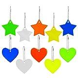 10 reflectores colgantes con llavero, estrella reflectante colgante de corazón, reflector de seguridad para niños, para mochilas, chaquetas, mochilas, ciclismo, caminar, correr o cochecito