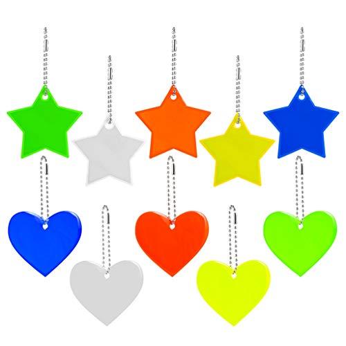 10 reflectores colgantes con llavero, estrella reflectante colgante de corazón, reflector de...
