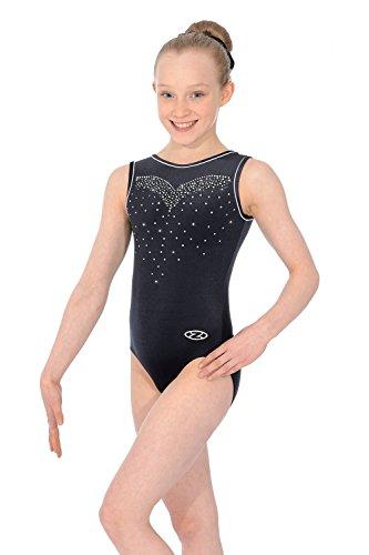 The Zone - Maillot de gimnasia sin mangas para niña, color negro, 34