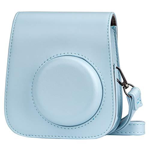 Cpano PU Leder Kameratasche für Fujifilm Instax Mini 11 Sofortbildkamera mit verstellbarem Riemen und Tasche (Blau)