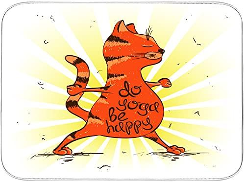 CONICIXI Alfombrilla de Secado de Platos Divertidos dibujos animados gato rojo haciendo posición de guerrero de yoga Cocina Almohadilla de Microfibra Seca Fácil de plega Lavable a máquina 40.6x45.7cm