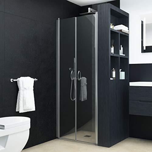 vidaXL Duschtür Duschabtrennung Duschkabine Duschwand Nischentür Glastür Dusche Tür Transparent ESG 5 mm Sicherheitsglas 85x185 cm Verstellbereich von 83-86 cm