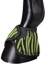 Tough 1 Extreme Vented Neoprene No Turn Bell Boots Horse Tack Equine(Neon Green Zebra Print Medium)
